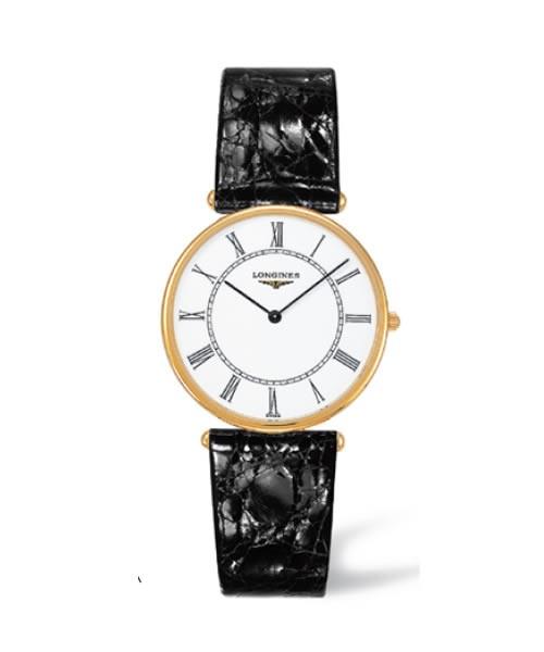 Longines Agassiz Herrenuhr 33mm Gold Zifferblatt weiß Leder-Armband schwarz L4.691.6.11.0 zum günstigen Preis online kaufen | UHREN01