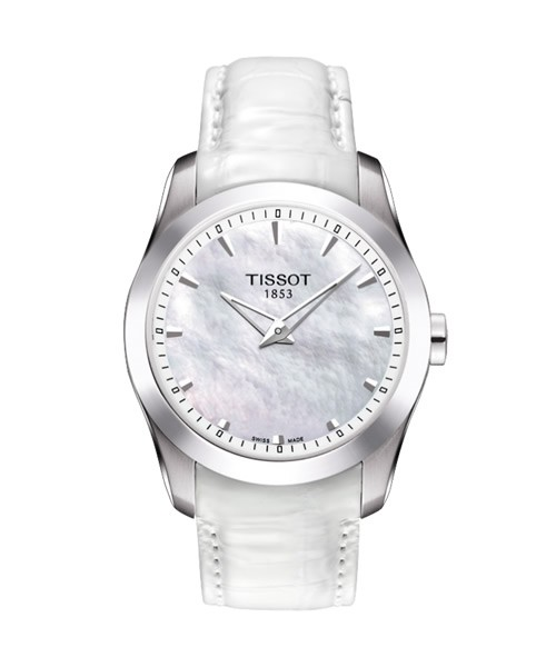 Tissot Couturier Grand Date Damenuhr weiß Perlmutt-Zifferblatt Leder.Armband T035.246.16.111.00