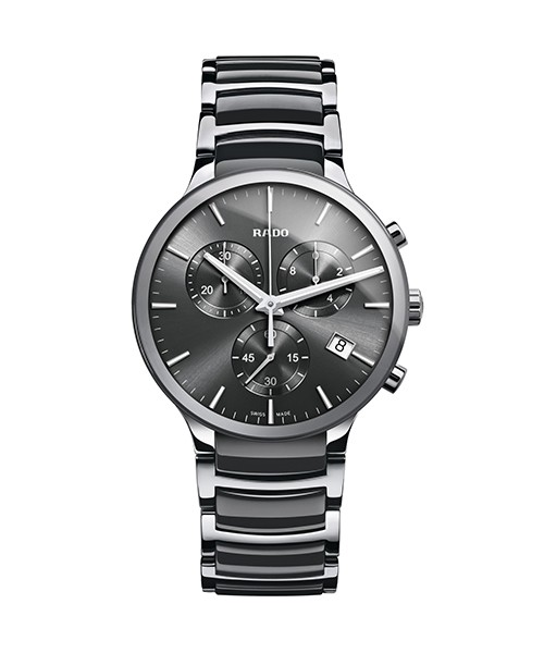 Rado Centrix Herren Quarz Chronograph Edition XL 44mm aus Hightech-Keramik mit dunkelgrauen Zifferblatt (R30122122)