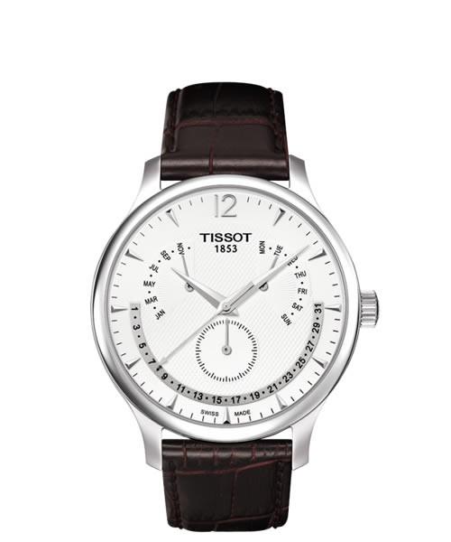 Tissot Tradition Chronograph Perpetual Calendar Leder-Armband braun T063.637.16.037.00