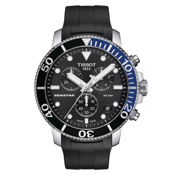 Tissot Seastar 1000 Chronograph 45mm Quarz Schwarz Blau Kautschuk-Armband T120.417.17.051.02