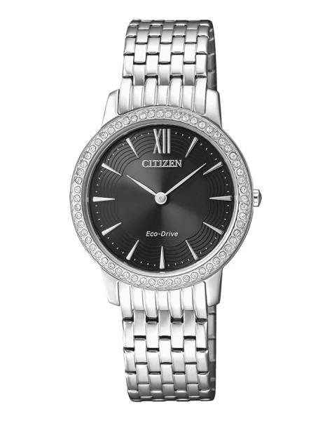 Citizen Damenuhr mit Swarovski Elements silber schwarz Edelstahl-Armband Eco-Drive EX1480-82E