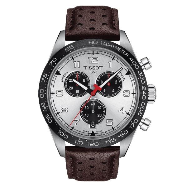 Tissot PRS 516 Chronograph Quarz Silber 45 mm Leder-Armband T131.617.16.032.00
