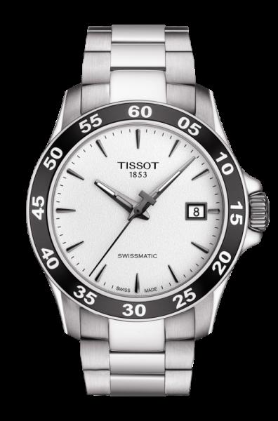 TISSOT V8 Swissmatic Automatik Herrenuhr 42,5cm mit silberfarbenen Zifferblatt T106.407.11.031.00