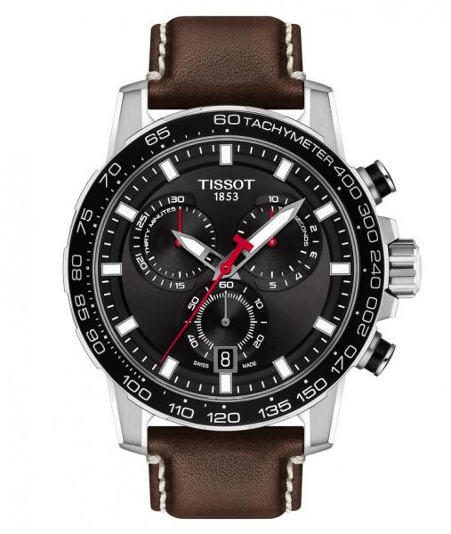Tissot Supersport Chrono T125.617.16.051.01 Chronograph Schwarz Leder-Armband Braun 45mm Quarz | UHREN01
