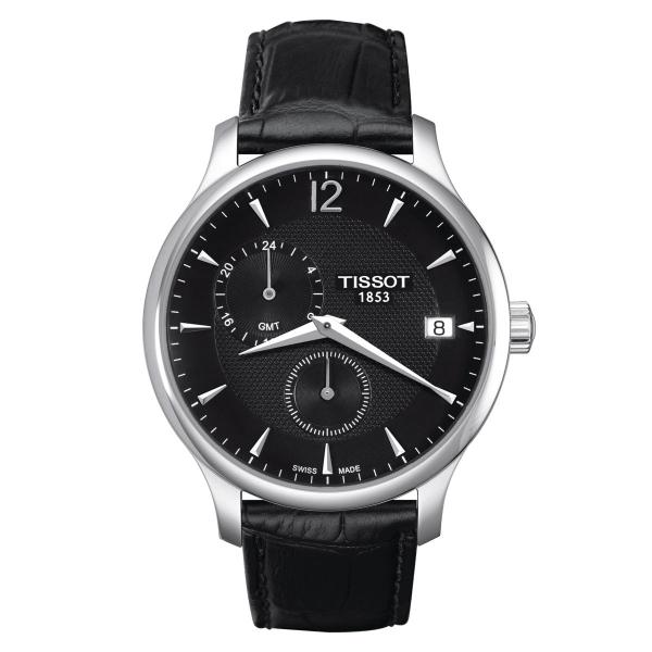 Tissot Tradition GMT 42mm Schwarz Leder-Armband Herrenuhr Quarz T063.639.16.057.00