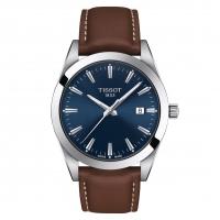 Tissot Gentleman Quartz Herrenuhr Leder-Armband Braun & Zifferblatt Blau 40mm T127.410.16.041.00 | UHREN01