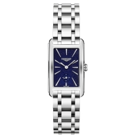 Longines DolceVita 37mm rechteckig Silber Blau Edelstahl-Armband Quarz L5.512.4.93.6   Uhren01