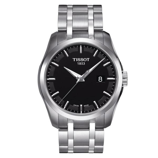 Tissot Couturier Herrenuhr 39mm silber schwarz Edelstahl-Armband Quarz T035.410.11.051.00