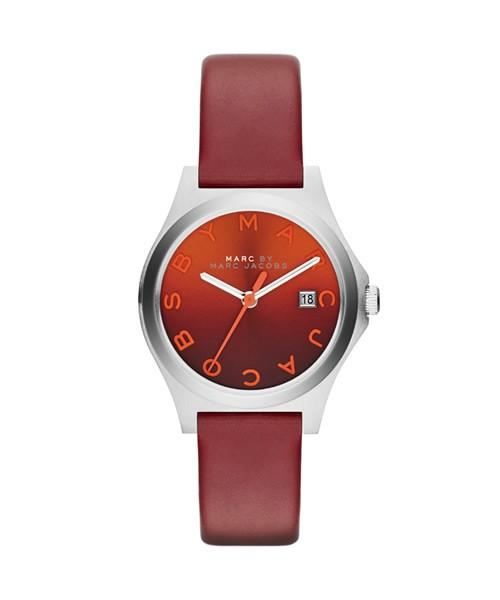 Marc Jacobs Uhr Damen Rot Leder-Armband Slim MBM1322 zum günstigen Preis online kaufen   UHREN01