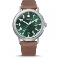 Citizen Military Eco-Drive Herrenuhr Quarz 42mm Grün mit Lederarmband AW1620-13X | UHREN01