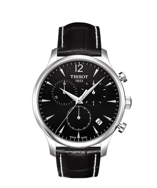 Tissot Tradition Chronograph 42mm silber schwarz Leder-ArmbandT063.617.16.057.00