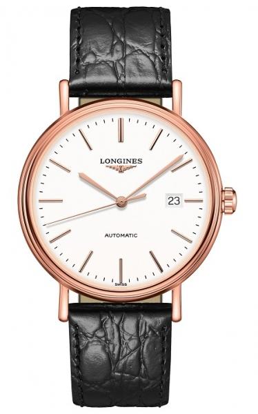 Longines Uhr Herren Automatik 40mm Roségold Zifferblatt Weiß Lederarmband schwarz Présence L4.922.1.12.2 | Uhren01