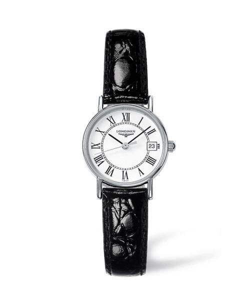 Longines Presence Damen-Uhr silber weiß 23mm Lederarmband schwarz L4.319.4.11.2 zum günstigen Preis online kaufen | UHREN01