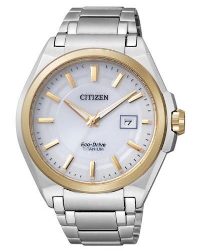 Citizen Super Titanium Herrenuhr silber gold weiß Eco-Drive BM6935-53A