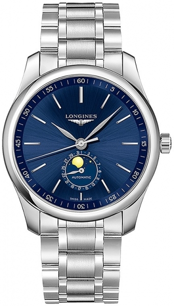 Longines Master Collection Mondphase Automatic Herrenuhr 42mm silber blau Edelstahl-Armband L2.919.4.