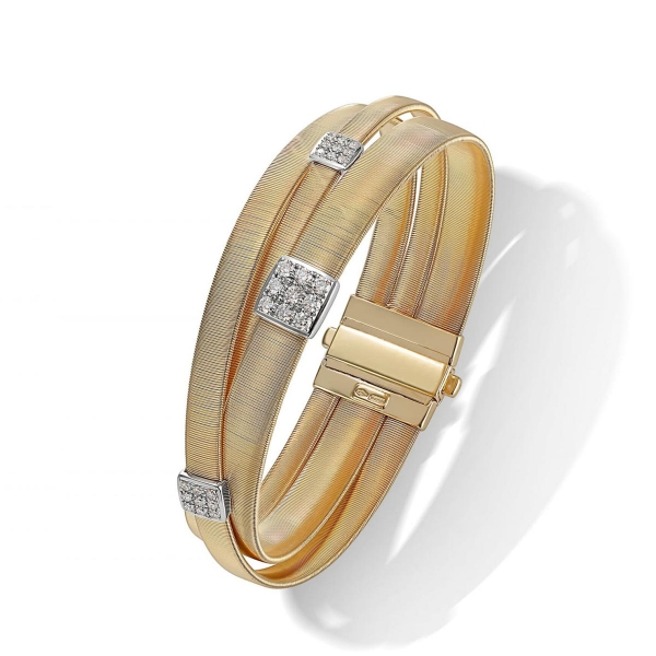 Marco Bicego Armband Masai Gold mit Diamanten Paves 3 Stränge BG733 B1 YW