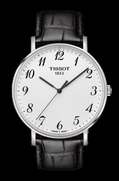 Tissot Everytime Large Herrenuhr 42mm silber weiß Leder-Armband schwarz Quarz T109.610.16.032.00