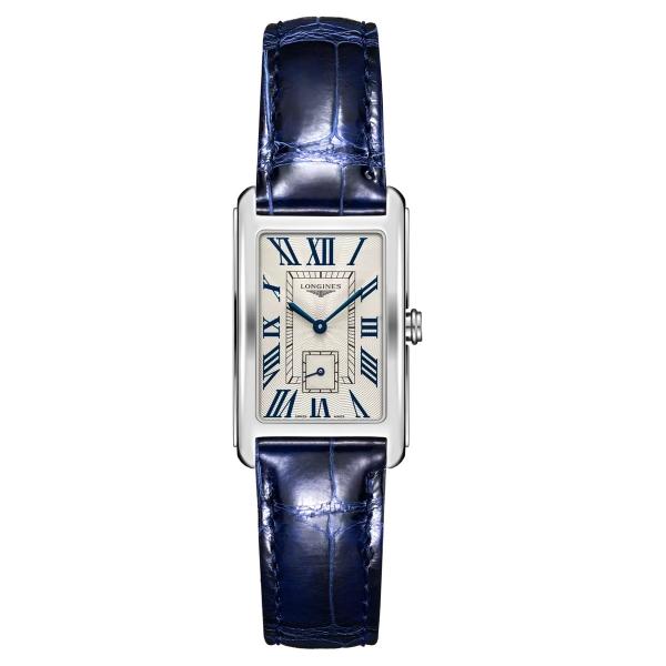 Longines DolceVita Damenuhr Quarz 37mm Silber mit blauem Leder-Armband L5.512.4.71.7