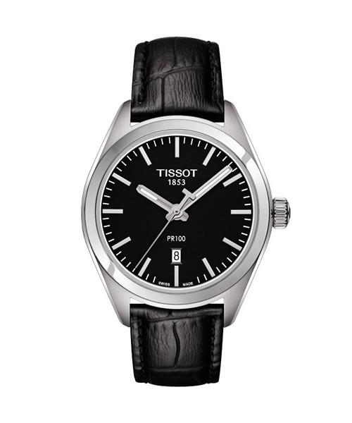 Tissot PR 100 Lady schwarz Damenuhr 33mm Leder-Armband Quarz T101.210.16.051.00