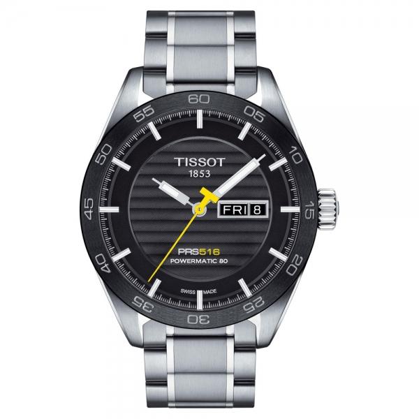 Tissot PRS 516 Powermatic 80 42mm schwarzes Zifferblatt Edelstahl-Armband T100.430.11.051.00