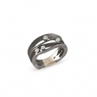 Annamaria Cammilli Ring DUNE Black Lava Gold mit 4 Diamanten GAN0778E