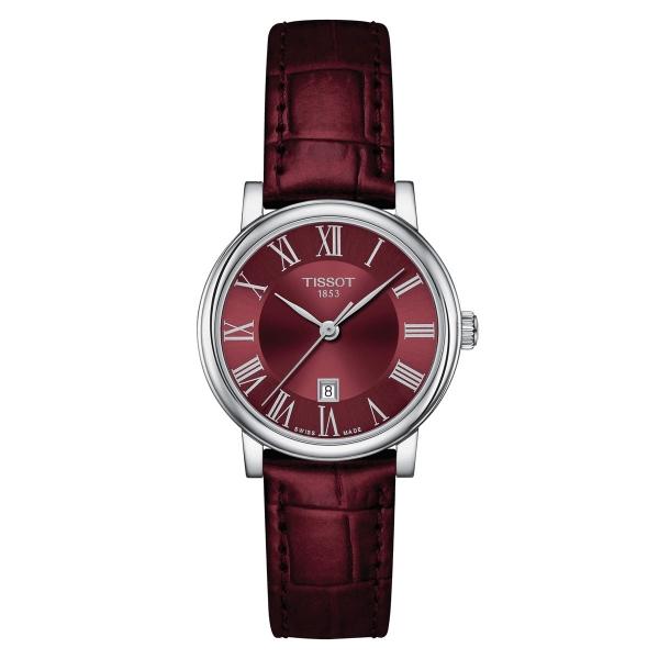 Tissot Carson Premium Lady Damenuhr Burgunder-Rot Leder-Armband Quarz T122.210.16.373.00