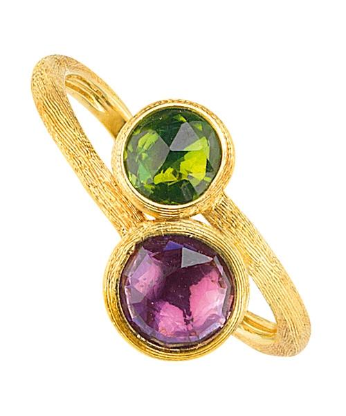 Marco Bicego Goldring Jaipur Ring aus Gold 18kt mit Amethyst und grünem Turmalin AB472-MIX186 | UHREN01