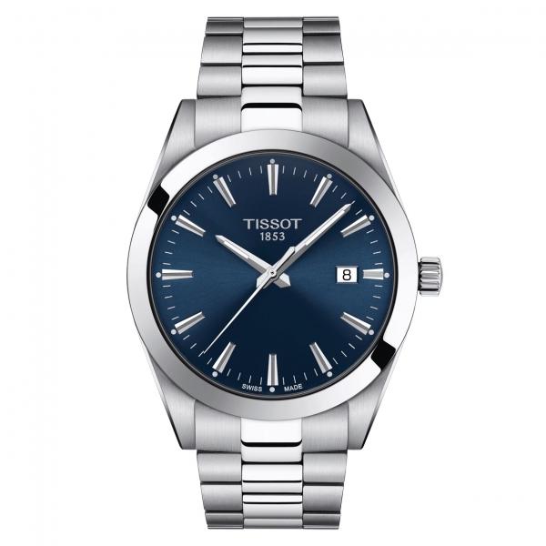 Tissot Gentleman Quartz Herrenuhr Edelstahl-Armband Silber & Zifferblatt Blau 40mm T127.410.11.041.00 | UHREN01