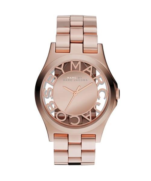Marc Jacobs Henry Skelett-Uhr Damen Rosegold mit perforiertem Zifferblatt MBM3207 zum günstigen Preis online kaufen | UHREN01
