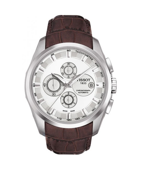 Tissot Couturier Automatic Chronograph 43mm silber Leder-Armband braun T035.627.16.031.00