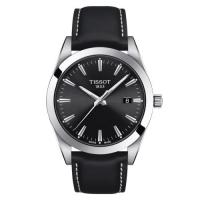 Tissot Gentleman Quarz Uhr mit schwarzem Leder-Armband & Zifferblatt 40mm T127.410.16.051.00