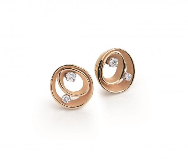 Annamaria Cammilli Damen Ohrringe DUNE aus 18 Karat Rose Gold mit Diamanten 0,20ct GOR1932J