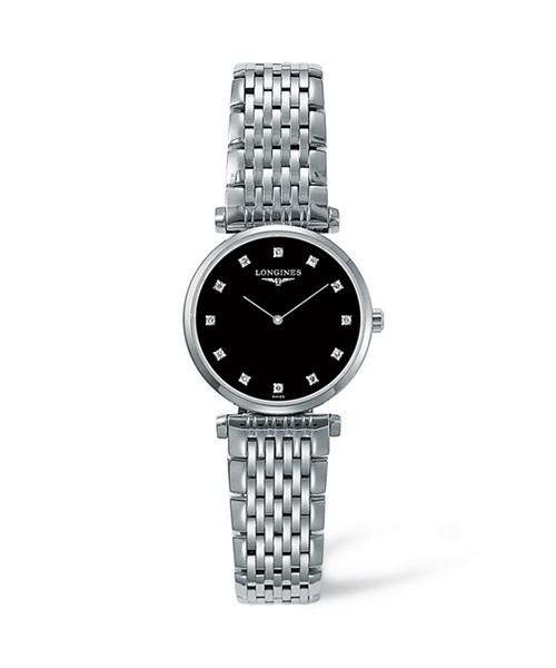 Longines La Grande Classique Damenuhr mit Diamanten silber schwarz Edelstahl-Armband L4.209.4.58.6 zum günstigen Preis online kaufen | UHREN01