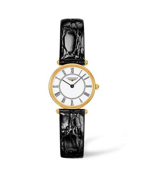 Longines Agassiz Damenuhr 23mm Gold Zifferblatt weiß Leder-Armband schwarz L4.191.6.11.0 zum günstigen Preis online kaufen | UHREN01