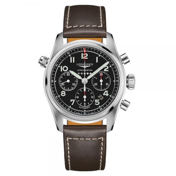 Longines Spirit Chronograph Automatic 42mm Schwarz Leder-Armband L3.820.4.53.0 | Uhren01