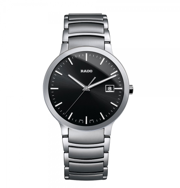Rado Centrix L Uhr Herren Silber Zifferblatt Schwarz Edelstahl-Armband Quarz 38mm R30927153 | UHREN01