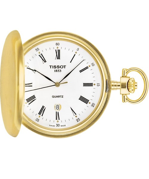 Tissot Taschenuhr Savonette Gold mit weißem Zifferblatt & römischen Zahlen Quarz T83.4.553.13