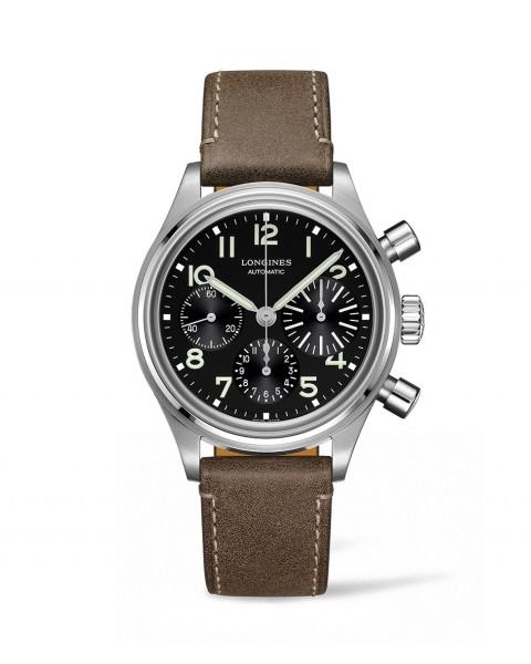 Longines Avigation BigEye 41mm Herren Automatik Chronograph Edelstahl Zifferblatt schwarz Leder-Armband L2.816.4.53.2 zum günstigen Preis online kaufen | UHREN01
