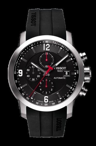 Tissot PRC 200 Automatic Chronograph schwarz Kautschuk-Armband 44mm T055.427.17.057.00