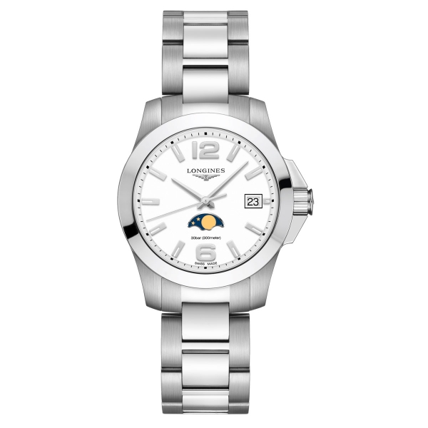 Longines Conquest Damenuhr Quarz 34mm Mondphase Edelstahl-Armband L3.381.4.16.6