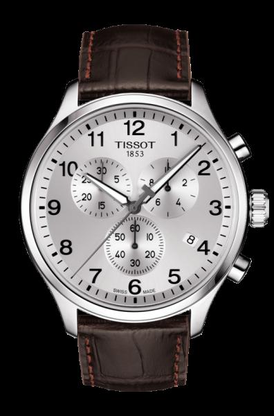 Tissot Chrono XL Classic silber Leder-Armband braun Herrenuhr Chronograph 45mm T116.617.16.037.00