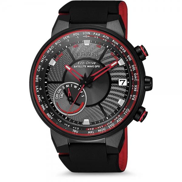 CITIZEN SATELLITE WAVE GPS CC3079-11E in rot & schwarz mit Silikonarmband