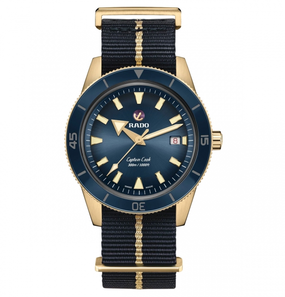 Rado Captain Cook Automatic Bronze Blau Nato-Textil-Armband 42mm Herrenuhr R32504207