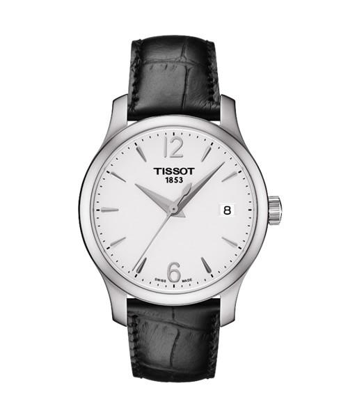Tissot Tradition Lady Uhr Damen silbern Lederarmband schwarz T063.210.16.037.00