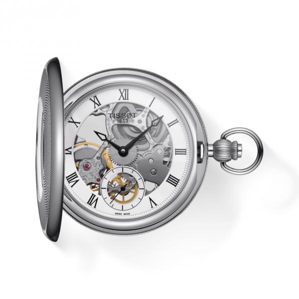 Tissot Taschenuhr T-Pocket Bridgeport Mechanical Skeleton Silber T859.405.19.273.00