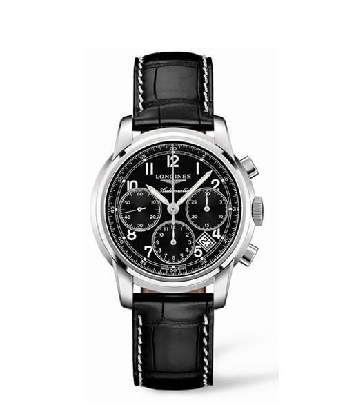 Longines Saint-Imier Automatic Herren Chronograph 39mm Edelstahl Leder-Armband schwarz L2.753.4.52.3