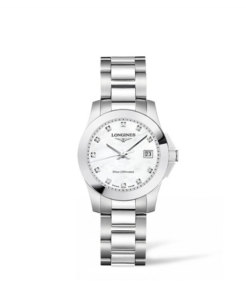 Longines Conquest Damen-Uhr mit Diamanten und Perlmutt-Zifferblatt silber Edelstahl L3.277.4.87.6 zum günstigen Preis online kaufen | UHREN01