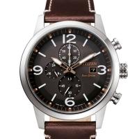 Citizen Eco-Drive Herren Uhr Chronograph 43mm Schwarz Silber mit braunem Leder-armband CA0740-14H | UHREN01