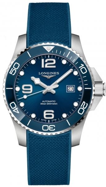 Longines HydroConquest blaues Kautschukarmband & Zifferblatt 43mm Automatik L3.782.4.96.9